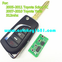 MS 3+1button flip remote control 312mhz car key for toyota scion yaris 2005-2011