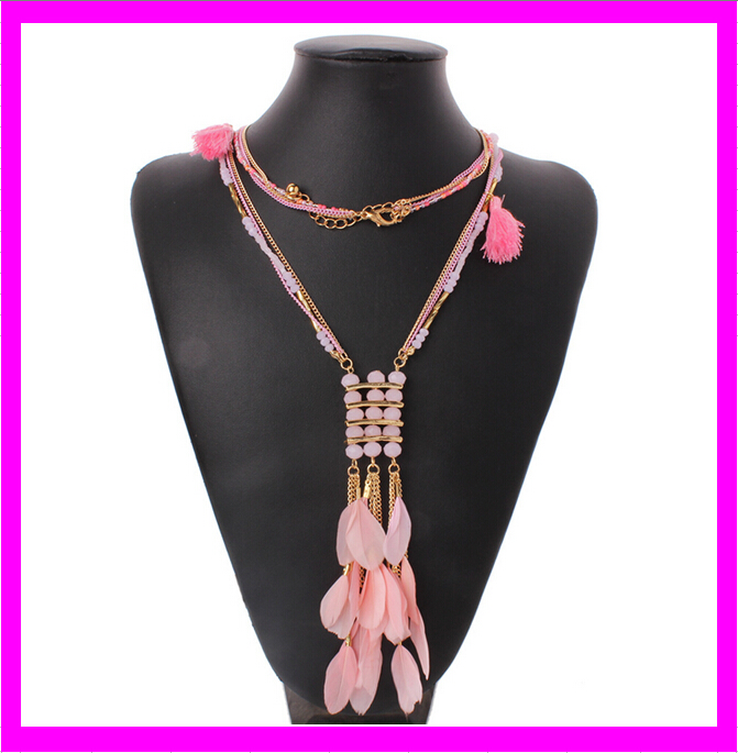 KD6764 wholesale fashion simple choker necklace feather meaning