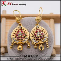 JN1070 fashion new mode 18K gold plated brass copper zirco indian traditional india style indian earring
