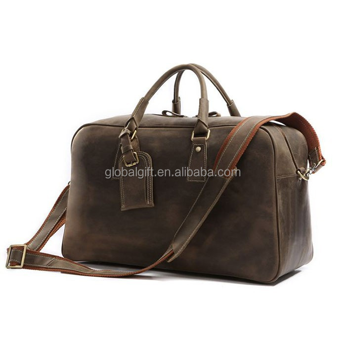 Men's Brown Vintage Genuine Leather Cowhide Classic Travel Luggage Duffle Gym Tote Bags