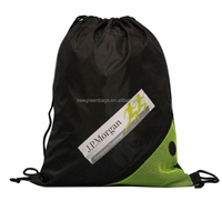 Beegreen Promotional sports zipper pocket 210D nylon mesh drawstring bag with earbuds
