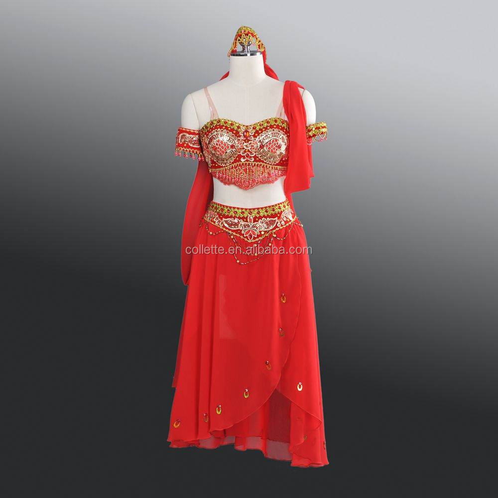 BLY1249 Adult red india belly profession chiffion emboridary dance costumes skirt