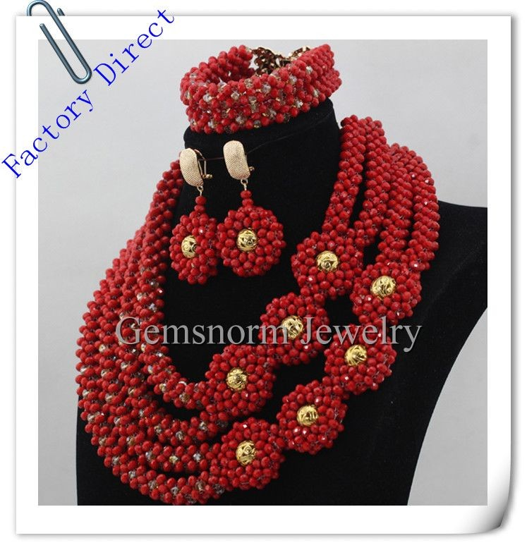 Red African Jewelry Sets 18K Gold Plated Bridal Statement Necklace Sets Flower Crystal Jewelry Sets Free shipping
