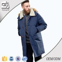 Guangjia Oem Cheap Price Warm Matel Button Zipper Hood Feather Inside Blue Winter Jacket