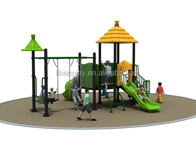 funny childrens outdoor playground with combination swing