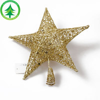 Christmas Tree Ornament Metal Christmas Tree Top Star With Golden Powder For Christmas Decoration Supplies