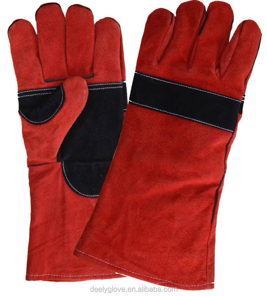 Red heat resistant Leather elbow length glove for hand protection