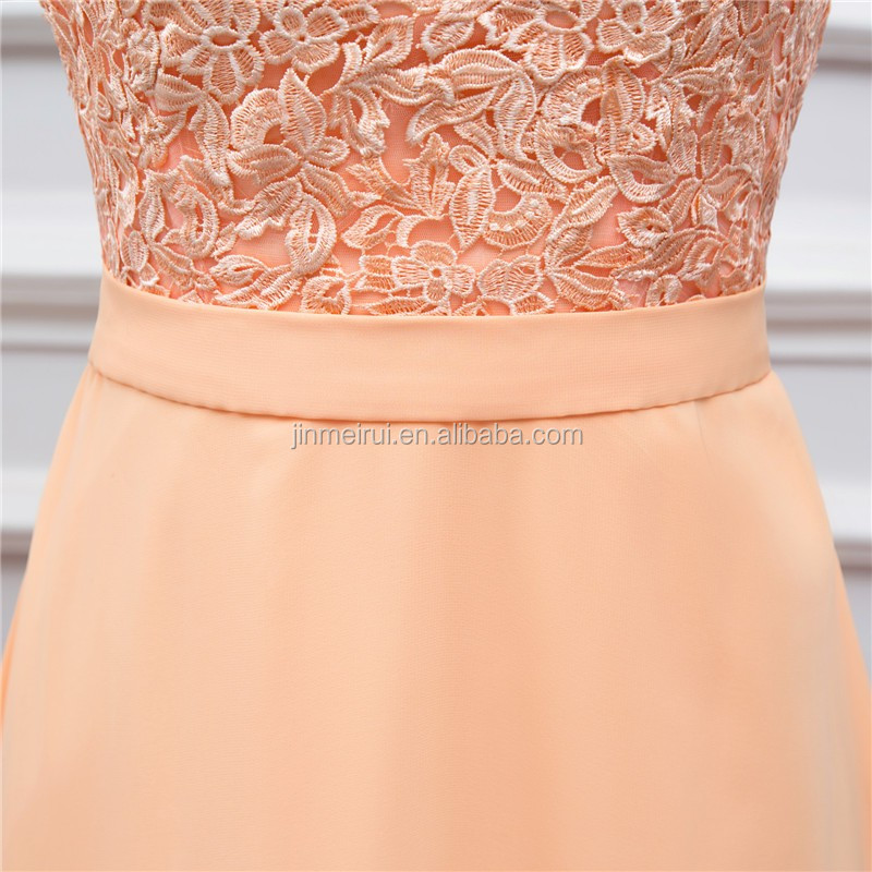 Long Chiffon Evening Dresses Peach High Quality Lace Backless Sexy Formal Evening Gown Vestidos De Real Photo