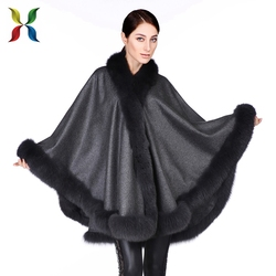 Colors available Factory pashmina cashmere fashion butterfly poncho cape shawl high quality thick fur collar poncho