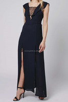 Black long maxi dress fluted sleeves insert lace chiffon evening dresses