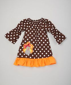 Wholesale baby girls thanksgiving boutique outfits 100 cotton turkey applique dresses kids holiday clothes