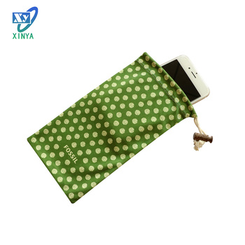 Microfiber drawstring pouch with sensitive touch screen for cellphone bag