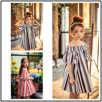 OEM Latest Fashion Cotton Short Sleeve Classic Stripes Baby Girls Birthday Summer Casual Dress ali347