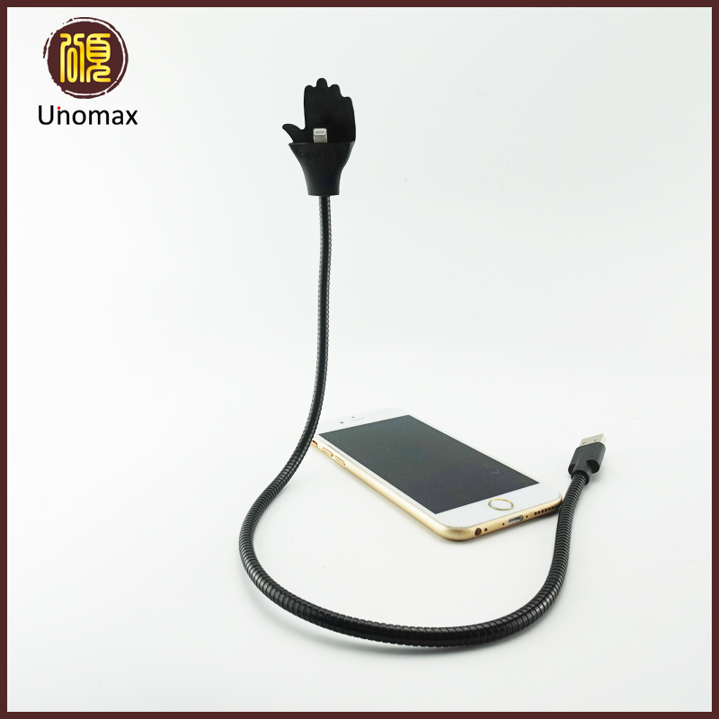 Flexible Hose Metal Holder 8Pin Cable Lazy Bracket Palm Shape folding usb 2.5A cable/charging cords for iPhone 5/6/7