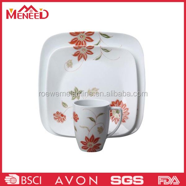 European hot sale red flower decal superior custom printed melamine dinner set, melamine food plate and cup