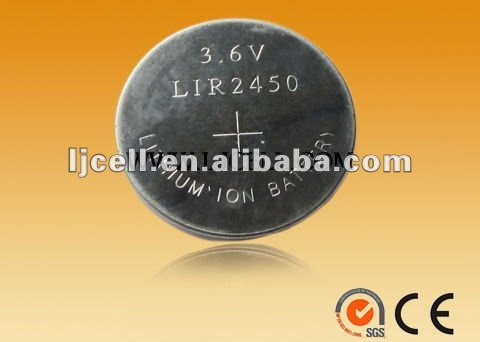 3.6V Lithium Ion Rechargeable Button Battery LIR1220, LIR2032, LIR2450, LIR2477, LIR3032, LIR3048