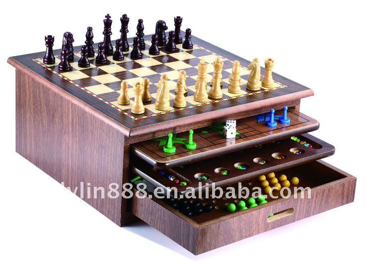 10 in 1 chess game set/wood game/chess