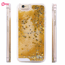 New Coming Transparent Clear Glitter Star Dynamic Liquid Quicksand Phone Back Cover Phone Case For Iphone 5 6 6 plus