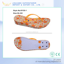 Custom printing & strap wedge PVC women flipflop slippers