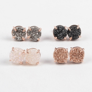 2020 Wholesale Fashion Custom Rose Gold druzy jewelry stud earrings for women