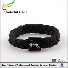 Black Handmade Knit Rope Shoelace Bracelet With Custom Logo