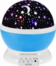 Baby Night Light Moon Star Projector 360 Degree Rotation - 4 LED Bulbs 9 Light Color Changing With USB Cable