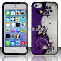Flower Printed Purple Vines Rubberized Hard Cover Snap On Case Accessories For Apple iPhone 5C