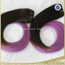 7a grade Brazilian remy virgin hair two tone ombre mix colored purple hair weave