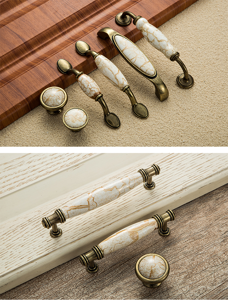 Marble Ceramic Knobs and Handles For Kitchen Cupboard CZ-9999