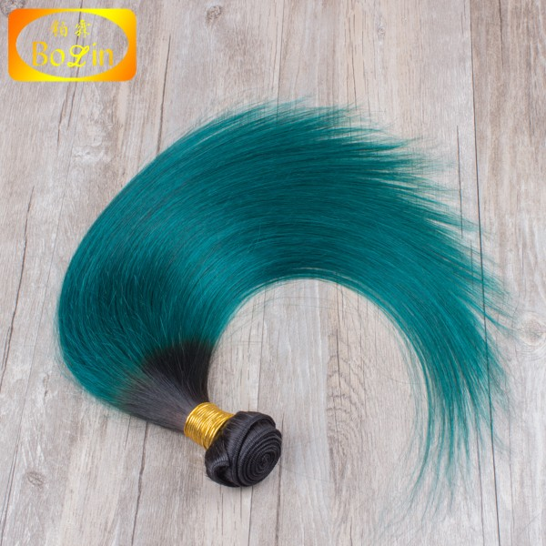 no shedding no tangle fast shipping 1b green straight hair weft ombre color human hair weft