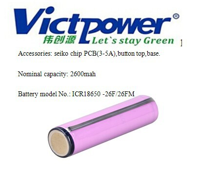 18650 Rechargeable torch battery cell 2600mah 3.7V include PCB and button top