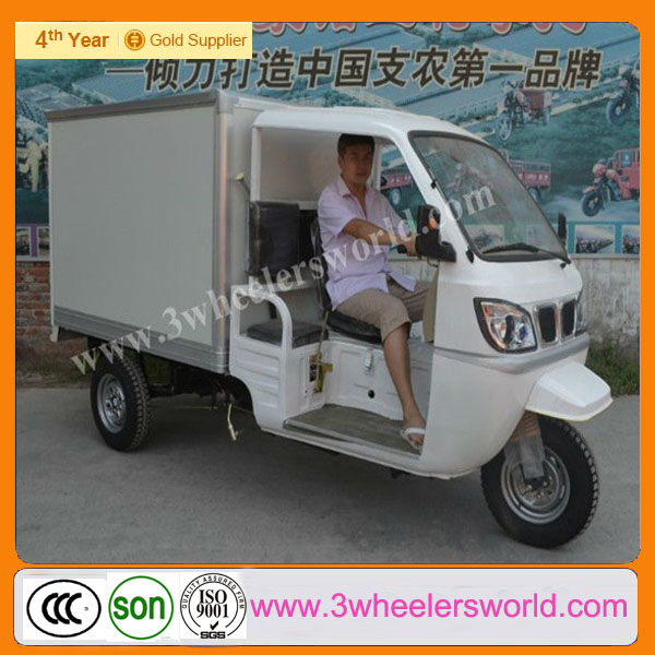 2014 China chongqing import diesel tricycle with van closed cargo box for sale