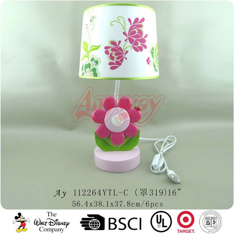 Flower Base Energy Saving Resin Kid Table Lamp