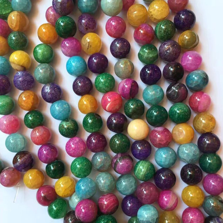 Rainbow colored Loose oval or faceted agate beads stone onyx finding gemstone round beads pendant DIY jewelry strand