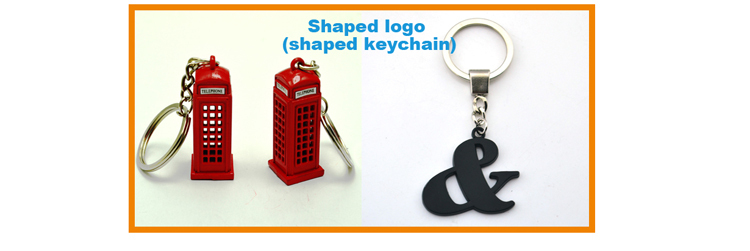 Metal and leather key ring with two sides logo