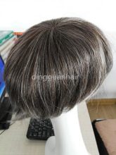 Quality cheap grey human hair toupee