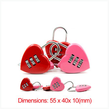 Love heart shaped luggage lock concentric lock travel promotional gifts