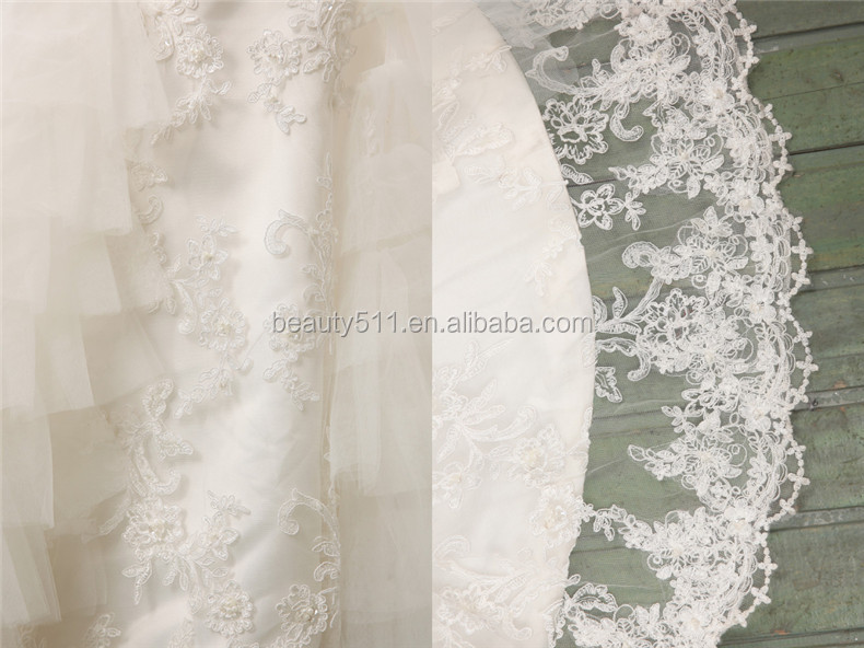 Custom Made Romantic Strapless Zipper Back Mermaid Lace and Tulle wedding gown bridal dresses GS45
