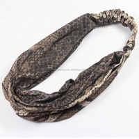 Wholesale Custom Snake Skin Leopard Print Wide Fabric Elastic HeadBand