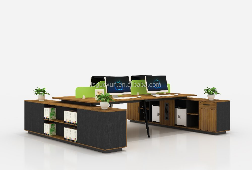 Guoxun Open Office Table 4 seats Workstation Commercial furniture Staff desk with cabinet
