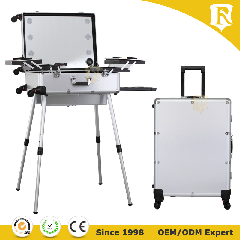 Aluminum professional rolling makeup trolley case with lights bluetooth speakers Portable makeup case