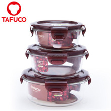 Round Heat Resistant Microwave Glass Food Storage Containers Fresh Box Jar 3pcs Sets
