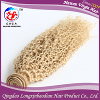 Cheap Price Manufacturer Top Grade 613# Kinky Curly Blonde Double Drawn Virgin Remy Russian Hair Weft