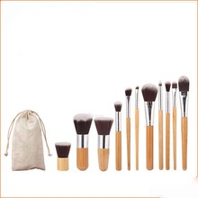 Private Label Professional Cosmetic bamboo Handle 11 Pcs Makeup Brush Set case With cloth Bag