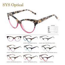 2017 fashion two color acetate optical glasses, bright color wholesale glasses frames