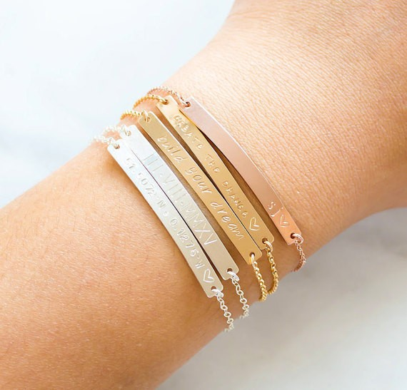 Personalized Custom Name bracelet , Engraved Gold Bar Bracelet