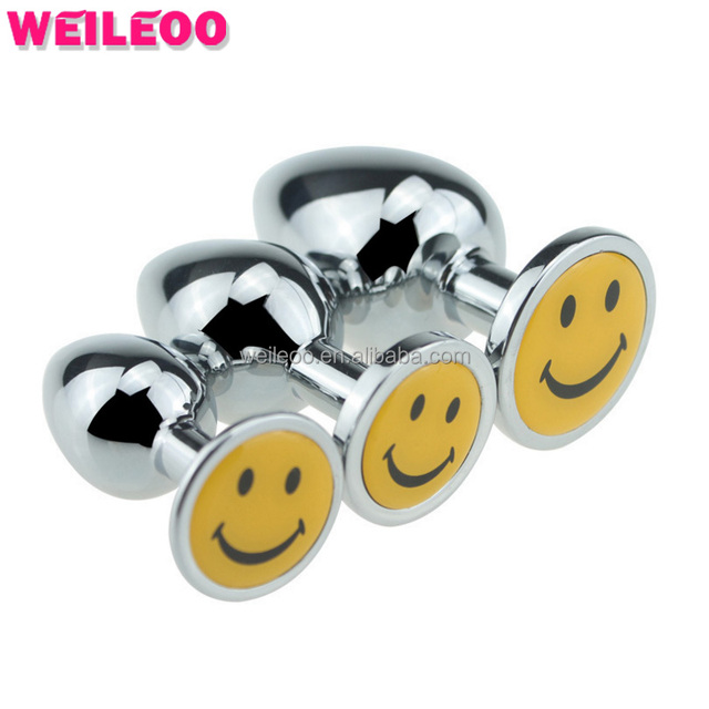 Smiley face decoration metal anal plug butt plug adult sex toy for man woman couple