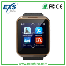 2015 Leather Bluetooth SmartWatch Can Sync All App android Cell Phone Wrist Band