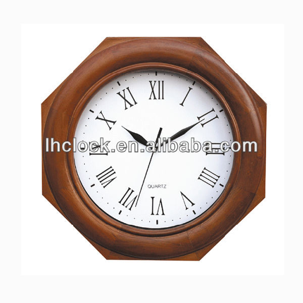 classical polygon wooden wall clock