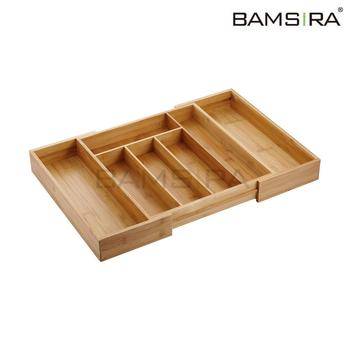 Expandable kitchen bamboo drawer organizer and bamboo cutlery tray /Bamsira_Factory